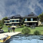 Image with luxury houses by the lake