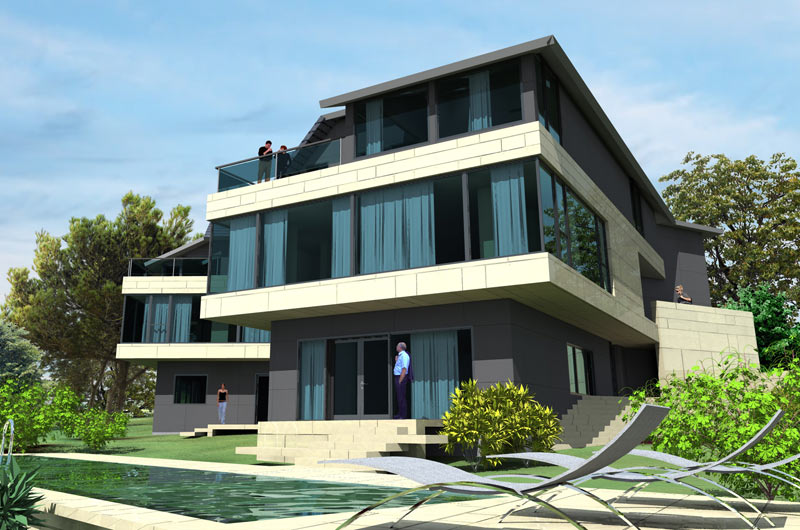 3 stories villa with pool